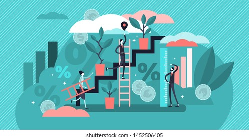 Growth vector illustration. Flat tiny increased economical persons concept. Percent rate measurement in real gross domestic product. Successful businessman profit management and development strategy.