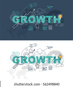 Growth web page banner concept with thin line flat design