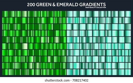 Grren, emerald chrome gradient set,pattern,template.Nature,grass colors for design,collection of high quality gradients.Metallic texture,shiny metal background.Suitable for text ,mockup,banner, ribbon