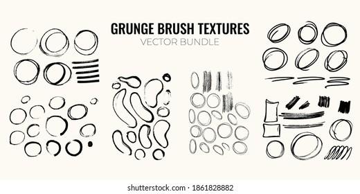 Gruhge handdrawn brush texture bundle. Set of black shapes, ink brush strokes, lines. Grungy design elements. Vector illustration.