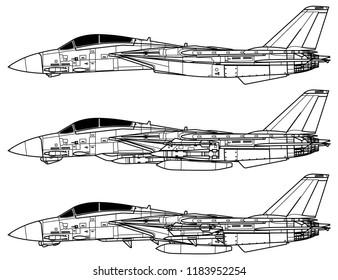 Grumman F-14 TOMCAT. Outline vector drawing