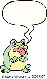 grumpy cartoon frog with speech bubble