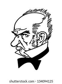 Grumpy Old Man - Retro Clip Art Illustration