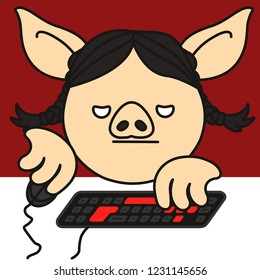 grumpy pc gamer pig woman that plays a personal computer game using a mouse and a keyboard, bored girl addicted to gaming grinds something in an mmorpg virtual world for hours sitting on a chair