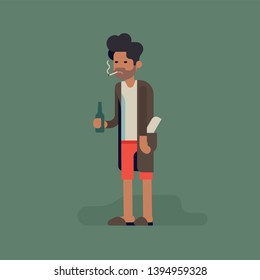 Grumpy slacker man in underwear, bathrobe  and slippers standing smoking a cigarette and drinking beer. Flat character design on man having drinking problem, giving up on life