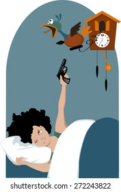 Grumpy woman  lying in her bed early in the morning with one eye closed and pointing a pistol to a mechanical bird emerging from a cuckoo clock, vector illustration, no transparencies, EPS 8