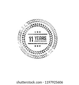 grunge 11 years anniversary celebration simple logo.grunge rubber stamp. celebration sticker