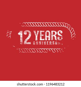 grunge 12 years anniversary celebration simple logo. vintage logo