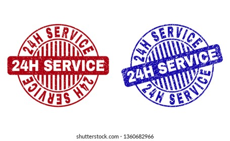 Grunge 24H SERVICE round stamp seals isolated on a white background. Round seals with grunge texture in red and blue colors. Vector rubber overlay of 24H SERVICE tag inside circle form with stripes.