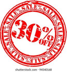 Grunge 30 percent sale off rubber stamp, vector illustration