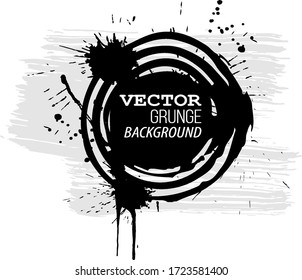 Grunge abstract background. Vector illustration. Isolated on white background. Grunge banner with an inky dribble strip.