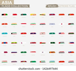 Grunge abstract brush stroke collection, flags of Asia. Vector flags.