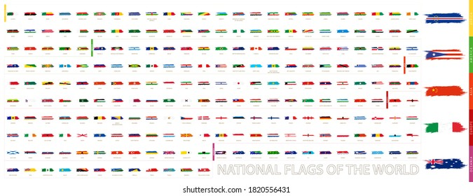 Grunge Abstract Brush Stroke Collection of the World: African, American, Asian, European, Oceanian Grunge Flag Set
