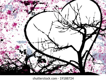 Grunge abstract love design with tree and heart