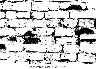 Grunge aged stone design of house. Decayed uneven outside surface of stained wall. Damaged vintage medieval mansion. Dirty ruined shabbytexture of rock. Fortified tower for 3d in black whitevector