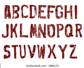Grunge Alphabet -  26 Individual Vector Letters (Grunge is transparent so the letters can be overlaid on other graphics )