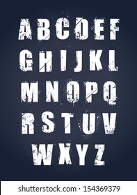Grunge alphabet. Dirty painted english letters set. Vector illustration.