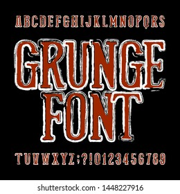 Grunge alphabet font. Messy uppercase letters and numbers. Vector typescript for your design.