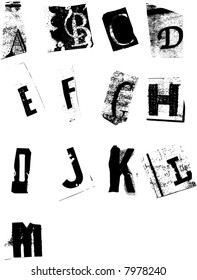Grunge alphabet resembling newspaper cutouts
