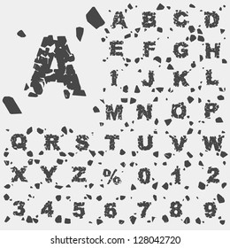Grunge alphabet type font set, vector collection of broken into pieces letters