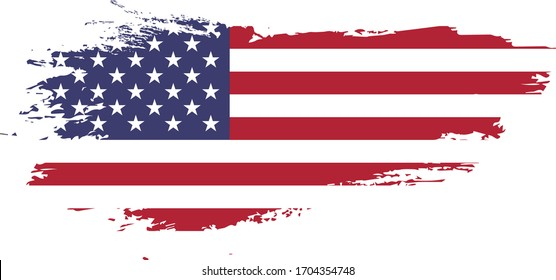 Grunge American Flag on Transparent background vector