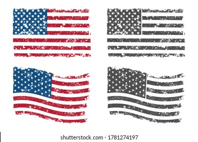 Grunge American flag vector set isolated on a white background.