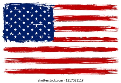 Grunge American flag.Dirty flag of USA.