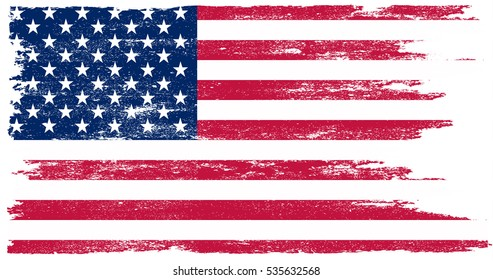 Grunge American flag.Vector flag of USA.