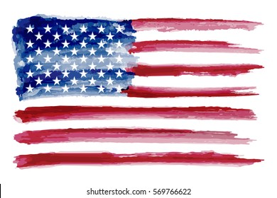 Grunge American flag.Watercolor flag of USA.