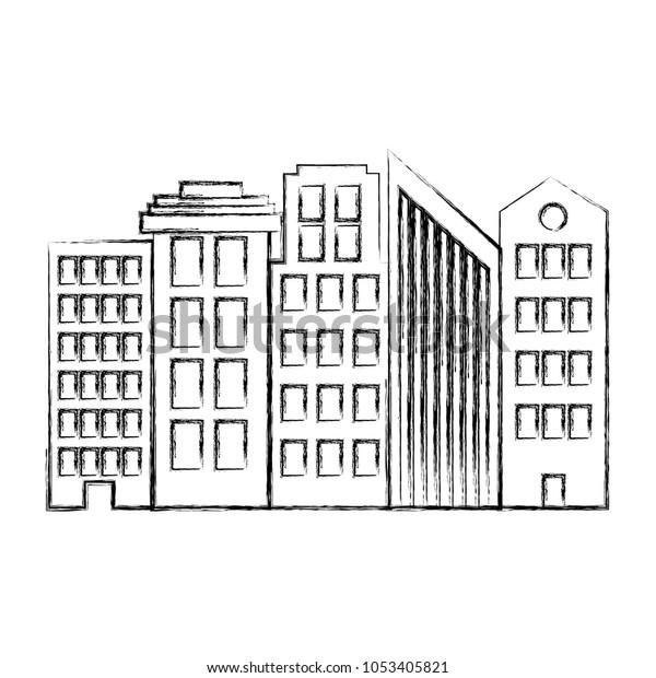 Grunge Architecture Modern Buildings City Design Stock Vector ...