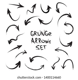 Grunge arrows on white background. Vector hand drawn arrows isolated on white background