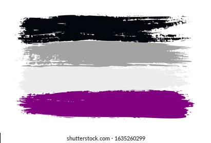 Grunge asexual pride flag. Vector illustration Symbol of LGBT movement. LGBTQ community.