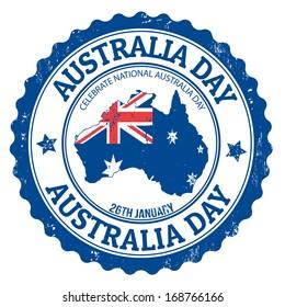 Grunge Australia day rubber stamp on white, vector illustration