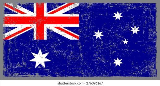 Grunge Australia flag.Australian flag with grunge texture.Vector illustration.