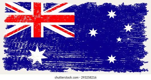 Grunge Australia flag.Australian flag with grunge texture.Vector template.