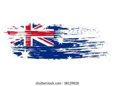 grunge australian flag in the shape of Australia including Tasmania