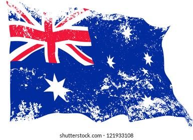 Grunge Australian flag waving.