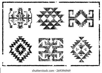 Grunge Aztec Navajo pattern illustration board