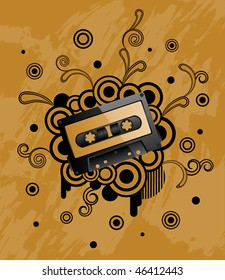 Grunge background with audio tape.