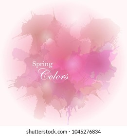 Grunge background in bright purple pink colors with spring fresh leaves and watercolor splashes