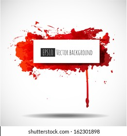 Grunge background with bright red splash and place for your text. Vector illustration.