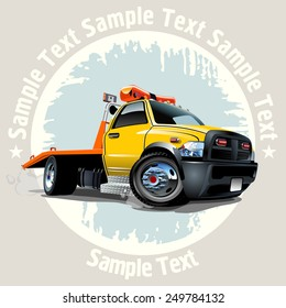 Grunge background with Cartoon Tow Truck. Available EPS-10 vector format separated by groups and layers for easy edit