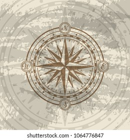 Grunge background with compass rose. Geography research, worldwide traveling and nature exploration. Nautical navigation, topography and cartography concept, world discovery vector illustration.
