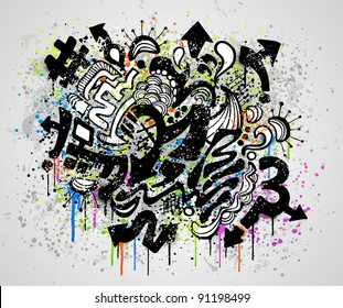 Grunge background design with graffiti and paint elements