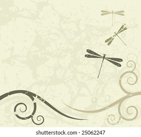 Grunge background with dragonflies with space for text