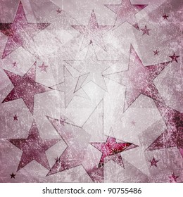 Grunge background with stars. Eps 10 vector