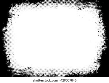 Grunge Background. Vector Frame with halftone dots . Black rectangle for image frame. Overlay Texture Effect .