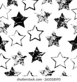 Grunge Background. Vintage Seamless Pattern. Retro Stars. Vector Illustration.