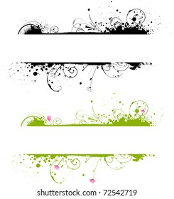 Grunge banner frame in black color and colorful variant