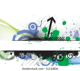 Grunge banner with an inky dribble strip banner with space of your text, vector illustration